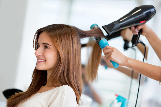 Portrait of a happy woman at the hair salon-1