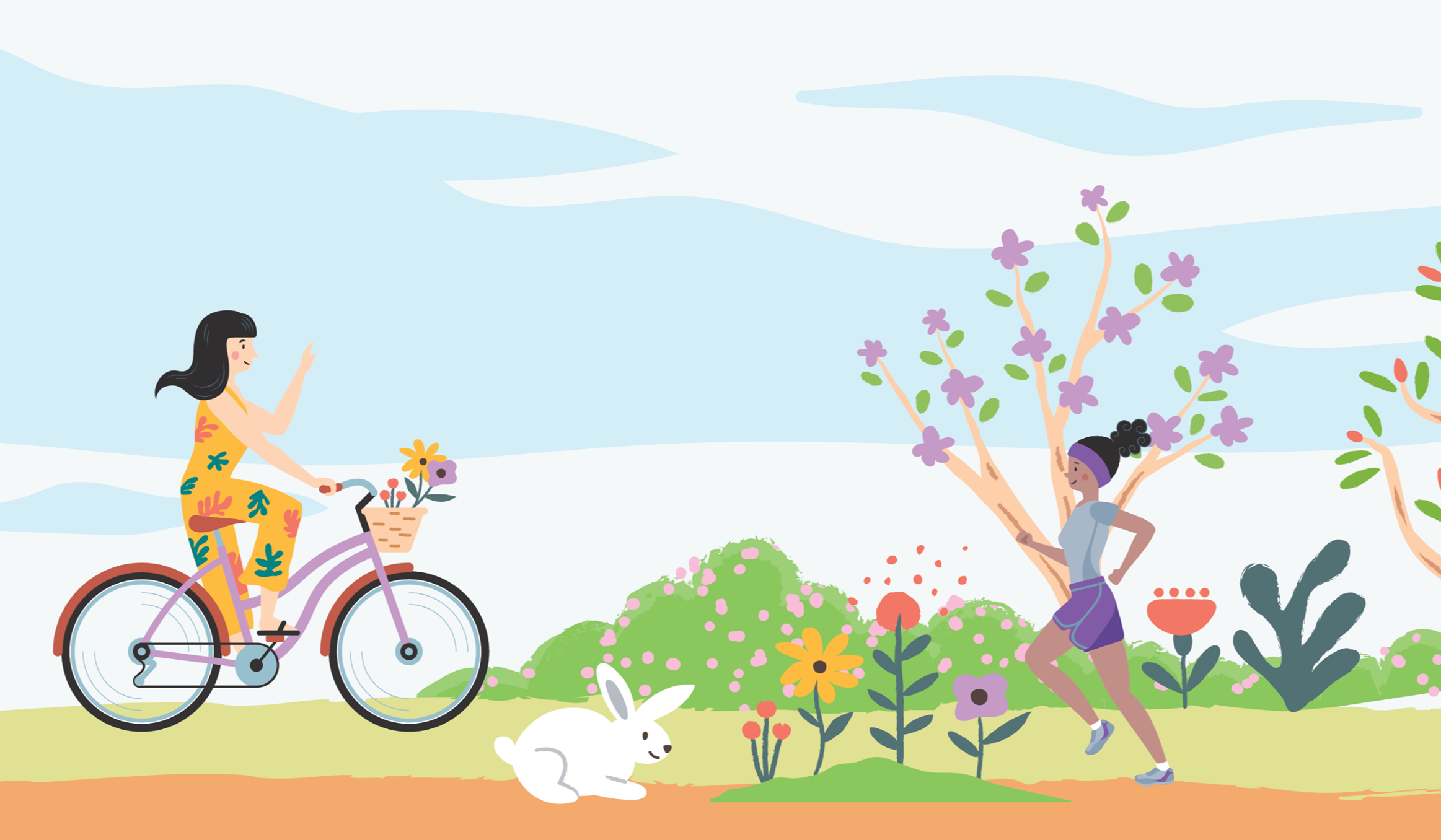 illustration of a woman riding her bike past a woman jogging in pleasant weather